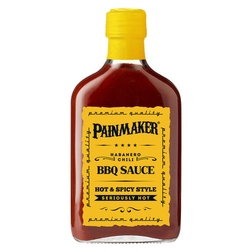 Painmaker BBQ Sauce - GELB mit Habanero Chili Hot & Spicy 195ml